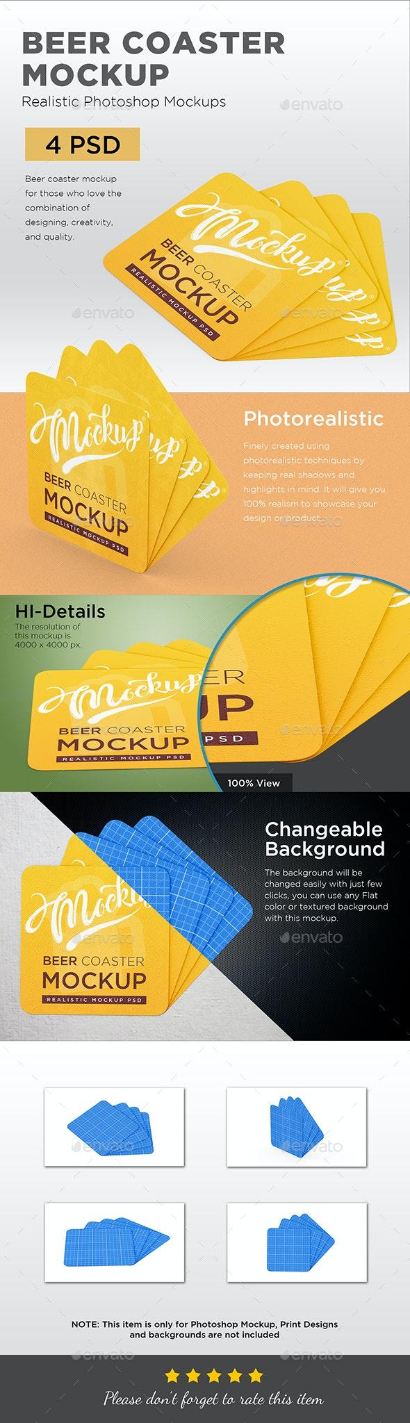 Beer Coaster Mockup - Packaging Product Mock-Ups