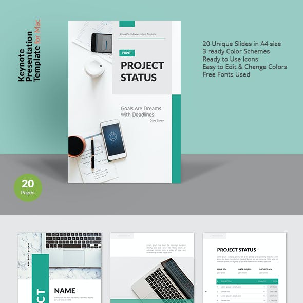 A4 Project Status Keynote Presentation Template for Print