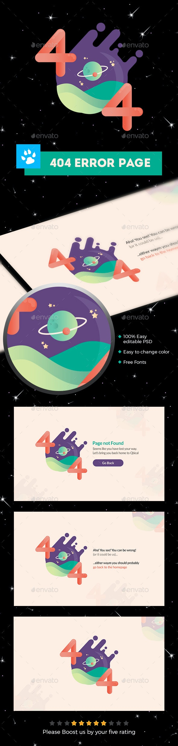 404 Error Page Template - 404 Pages Web Elements