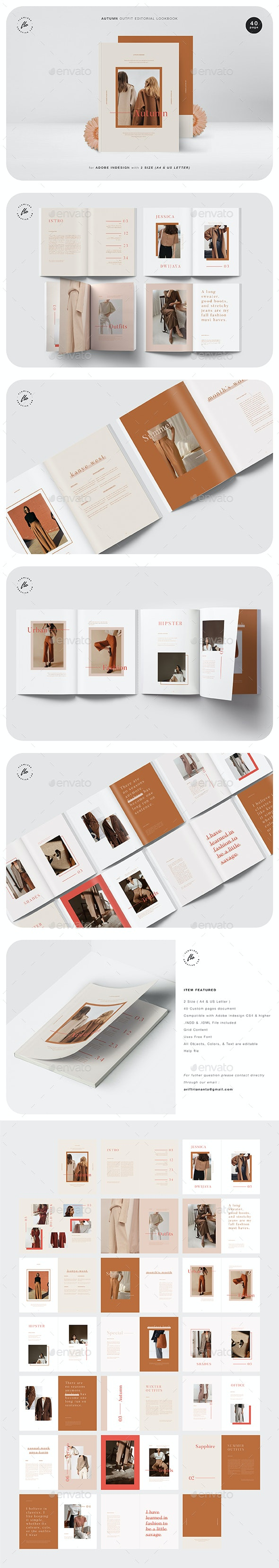 Autumn Outfit Editorial Lookbook - Magazines Print Templates