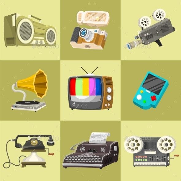 Vintage Devices Icons Retro Tech Media - Retro Technology