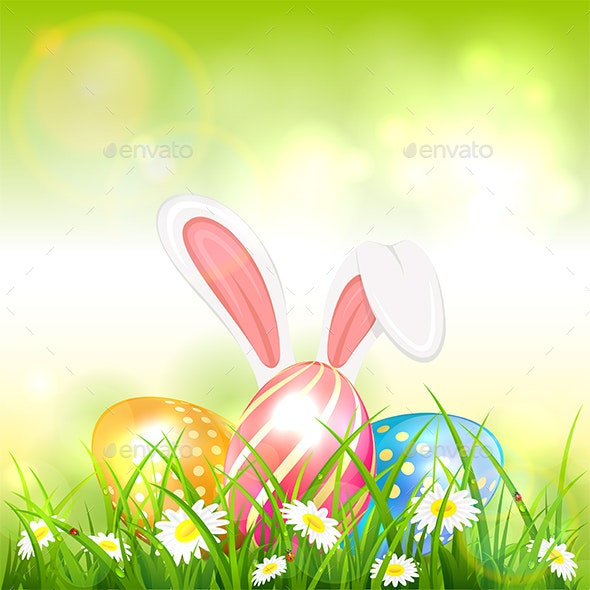 Green Easter Background with Eggs in Grass and Rabbit - Miscellaneous Seasons/Holidays