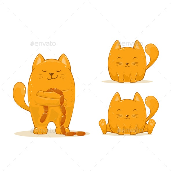 Set of Red Happy Cats - Animals Characters