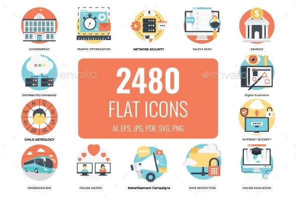 2480 Flat Vector Icons - Icons
