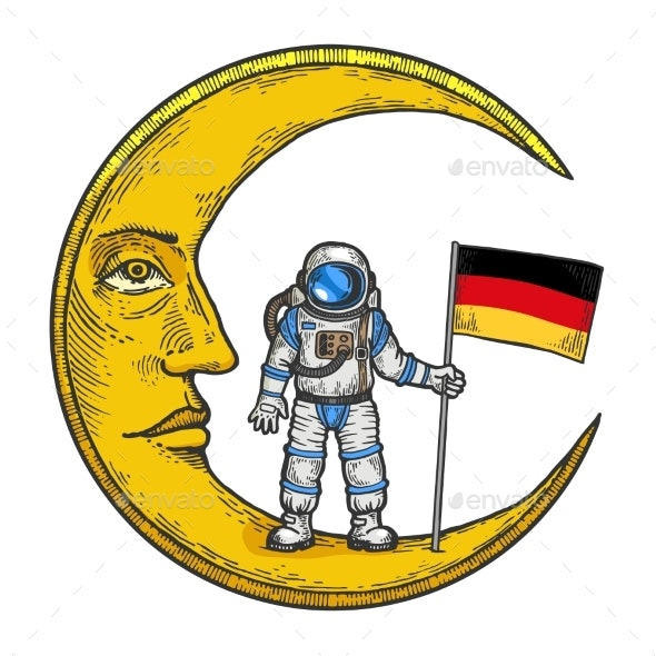 Spaceman German Flag Moon Color Sketch Engraving - Miscellaneous Vectors