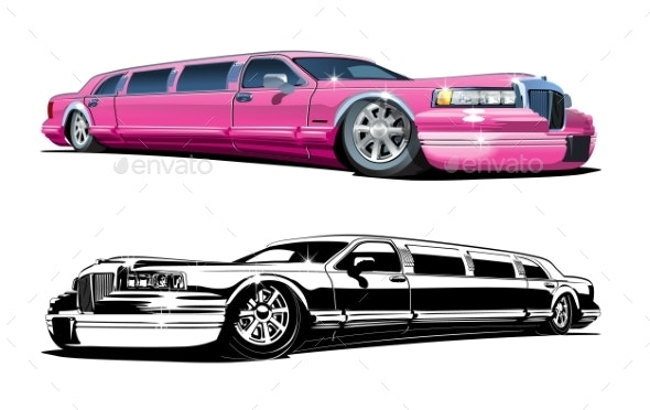 Vector Cartoon Limousines - Man-made Objects Objects