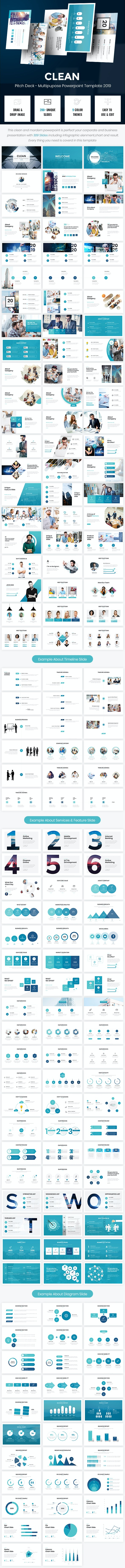 Clean - Pitch Deck Multipurpose Powerpoint Template - Business PowerPoint Templates