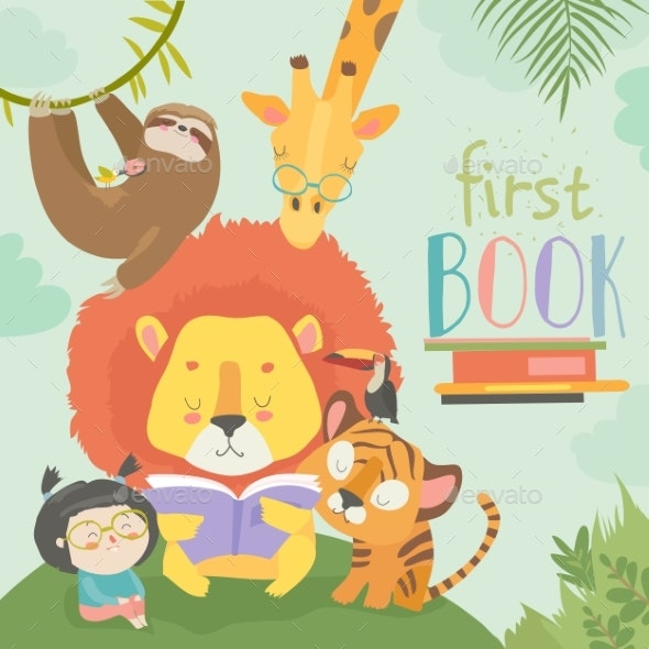 Little Girl Reading Book with Cartoon Animal - Animals Characters