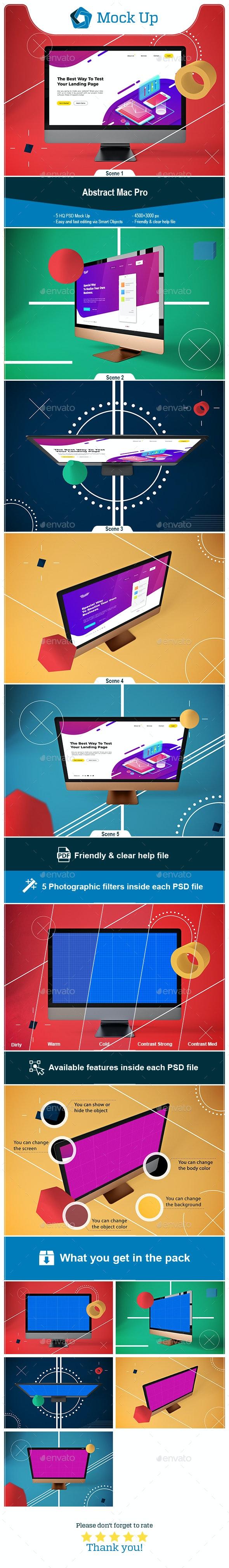Abstract Mac Pro MockUp - Monitors Displays