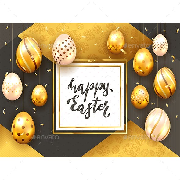 Holiday Card with Golden Easter Eggs on Gold