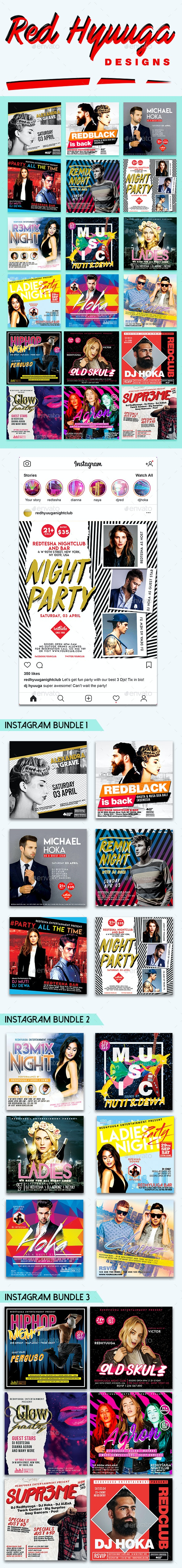 18 Instagram Banner Events Bundle - Social Media Web Elements