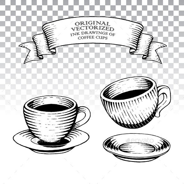 Ink Engravings of Coffee Cups - Man-made Objects Objects