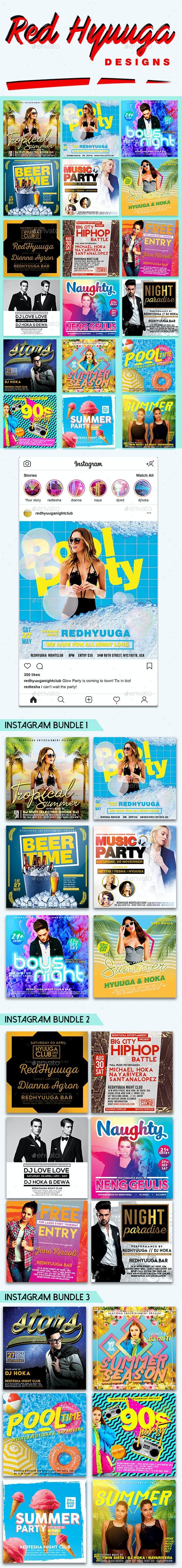 18 Instagram Banner Events Bundle - Social Media Web Elements