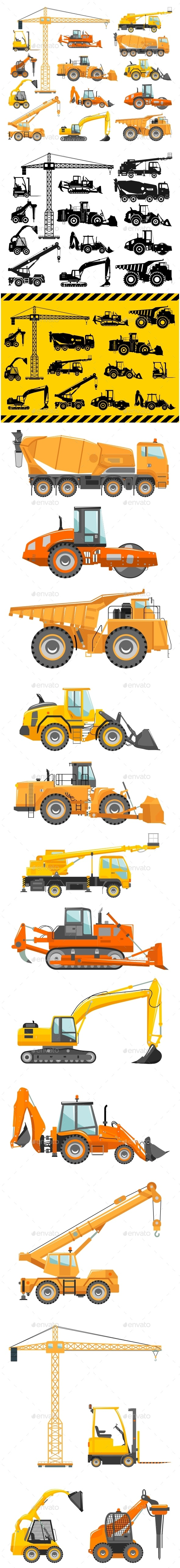 Set of Heavy Construction and Mining Machines Icons - Industries Business