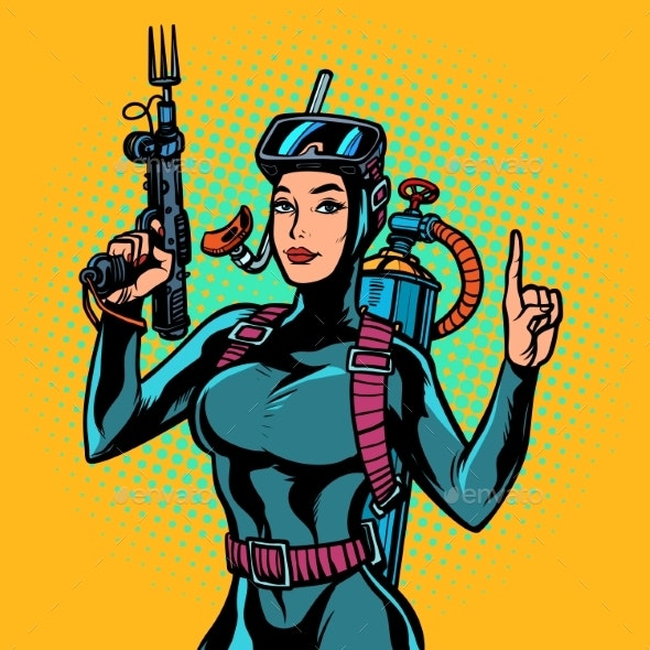Aqua Woman Diver Spearfishing Gun - People Characters