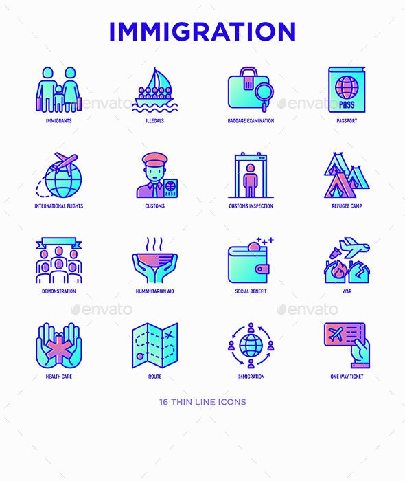 Immigration | 16 Thin Line Icons Set - People Characters