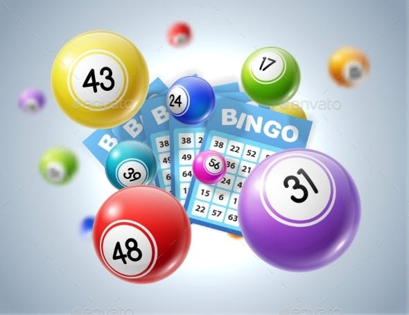 Lotto Balls and Lottery Tickets with Numbers