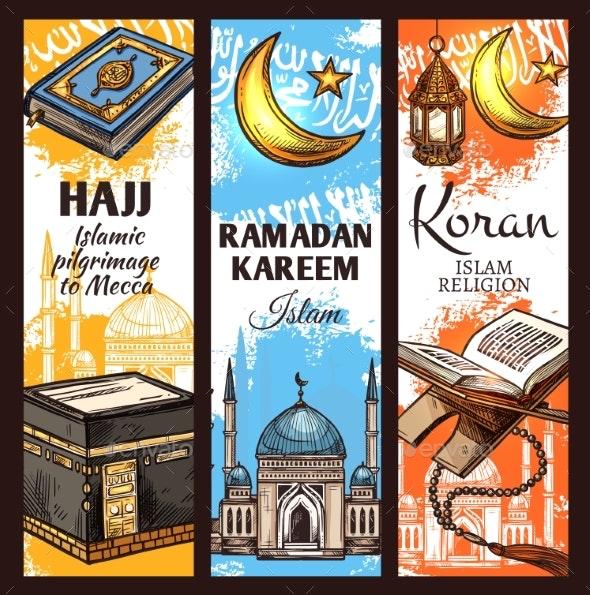 Muslim Mosque, Ramadan Lantern and Islamic Koran - Religion Conceptual