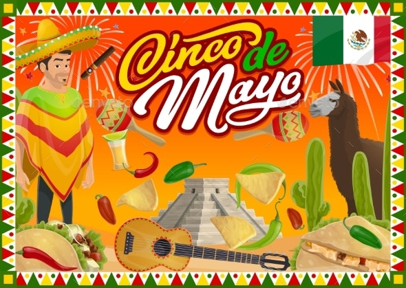 Cinco De Mayo Mexican Fiesta Guitar and Sombrero - Miscellaneous Seasons/Holidays