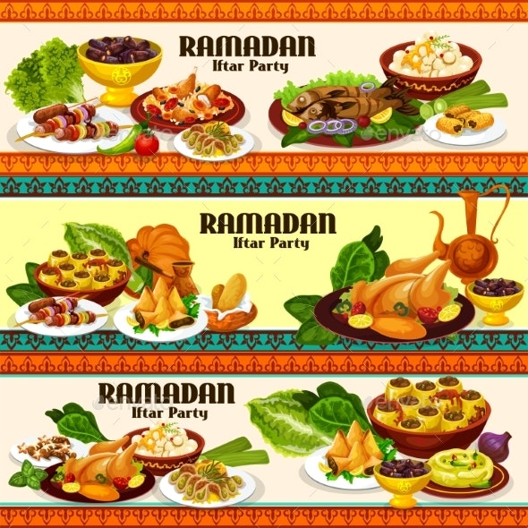Ramadan Iftar Meat and Fish Dishes with Dessert - Food Objects