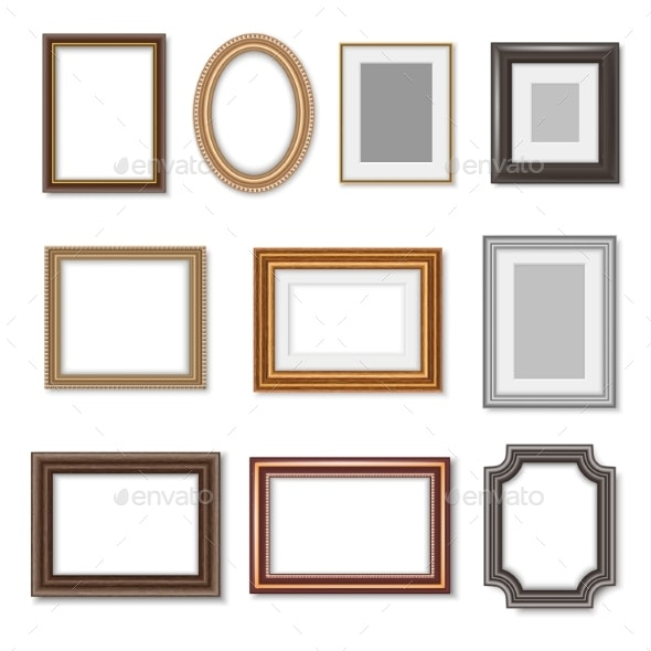 Wooden Photo Frames and Picture Golden Borders - Man-made Objects Objects