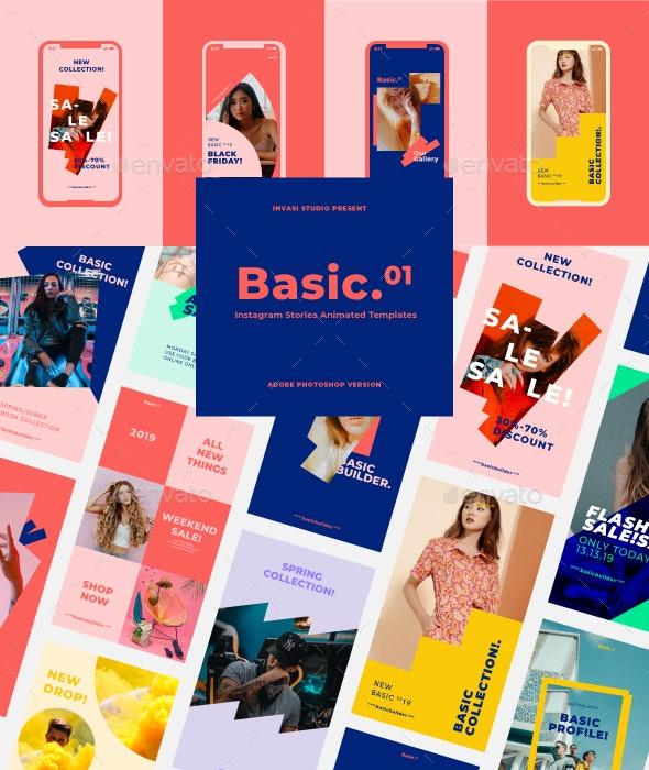 Basic-Instagram Stories Animated Templates - Social Media Web Elements
