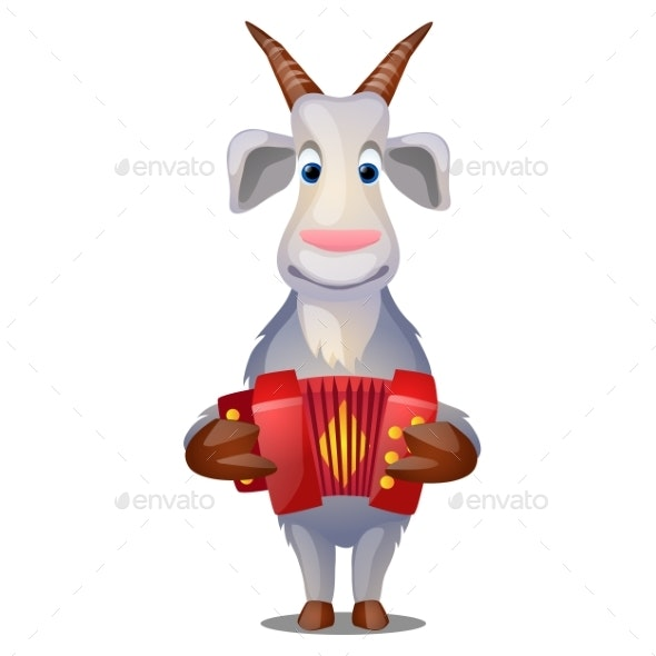 Goat with Accordion Isolated on White - Animals Characters