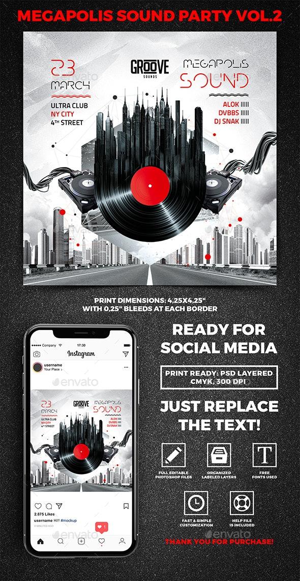 Megapolis Sound Party Square Flyer vol.2 - Clubs & Parties Events