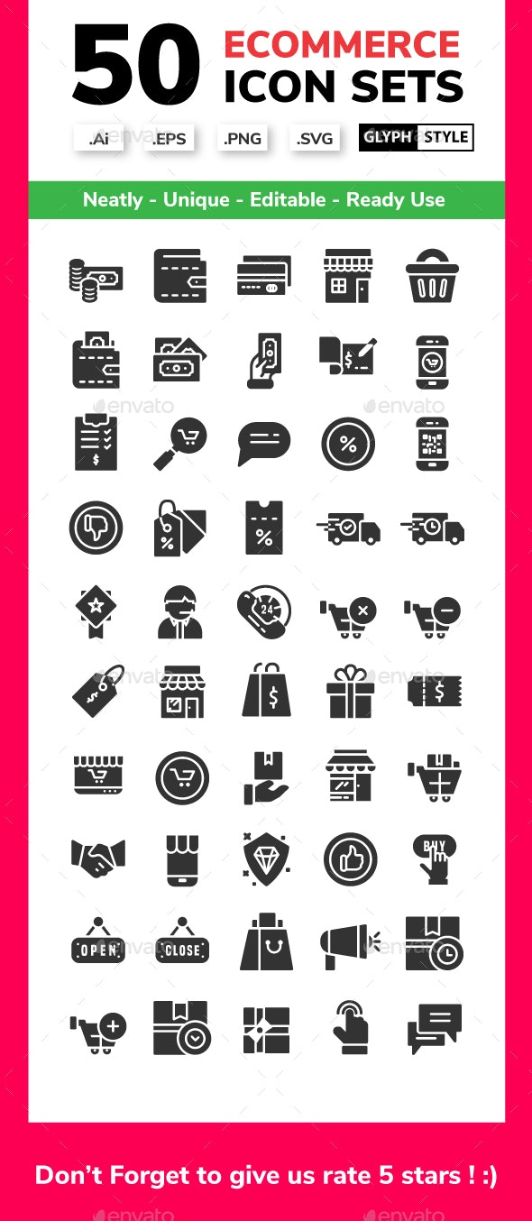 E - Commerce - Glyph Icon Style - Business Icons