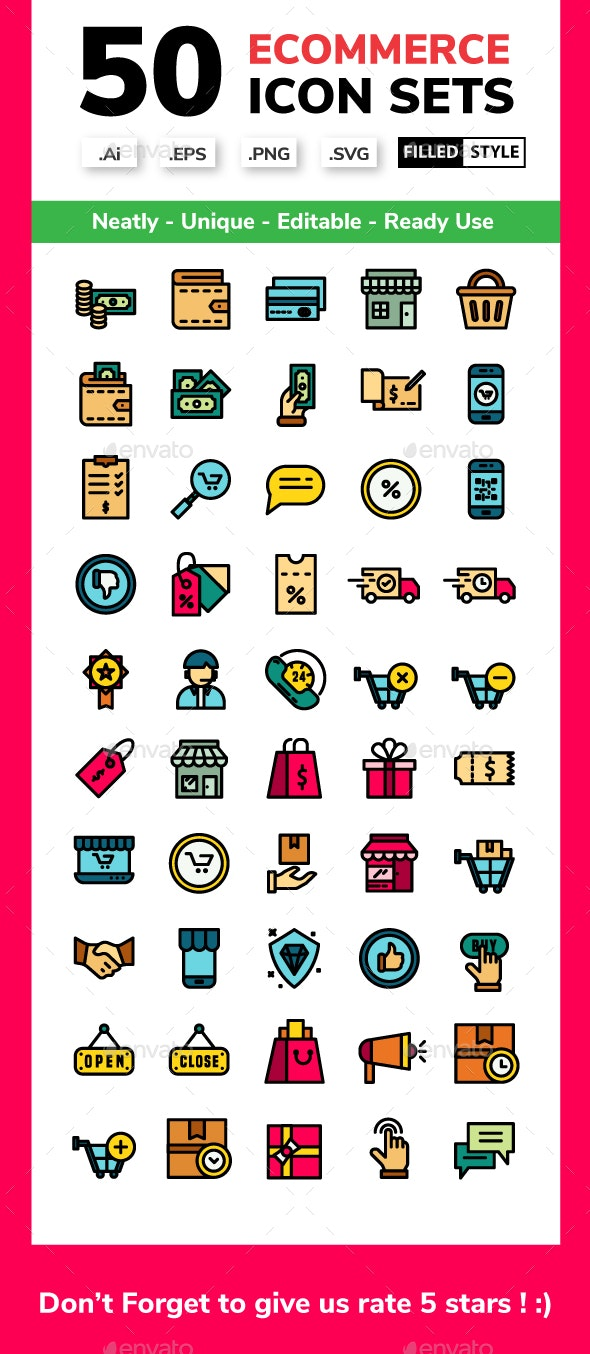 Ecommerce - Filled Line - Business Icons