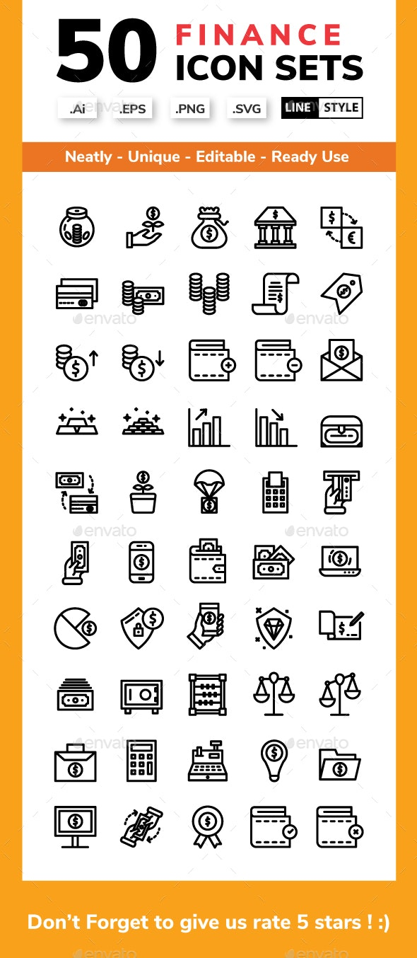 Finance - Line Icon style - Business Icons