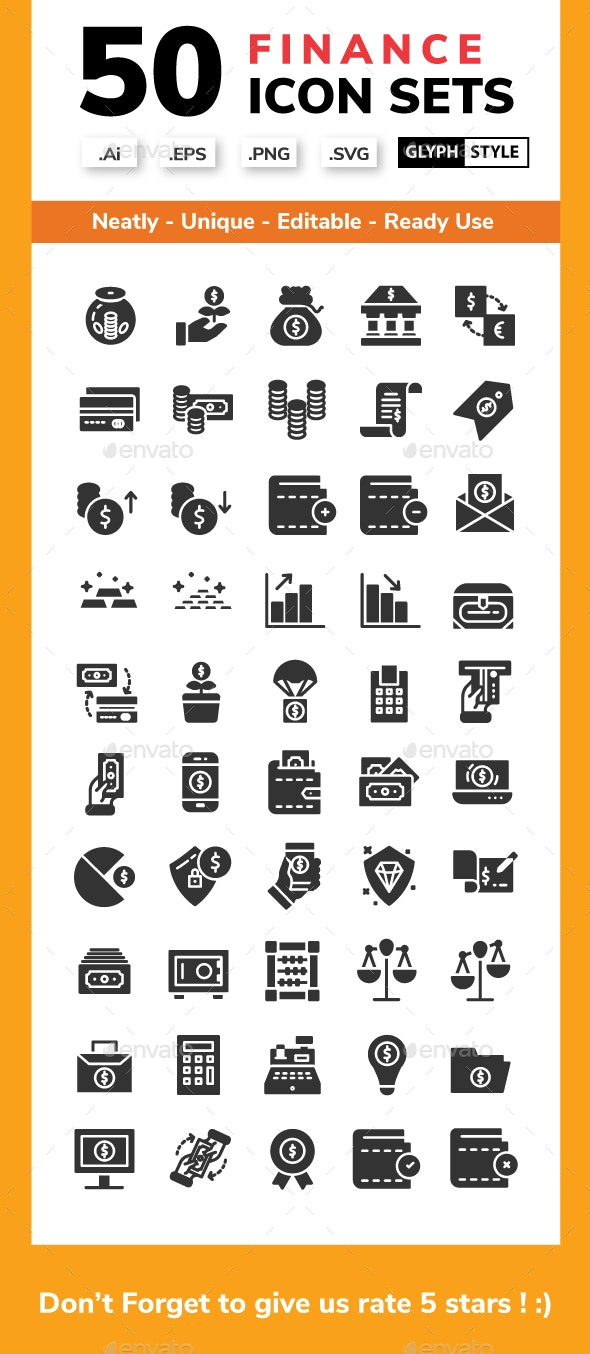 Finance - Glyph Icon style - Business Icons