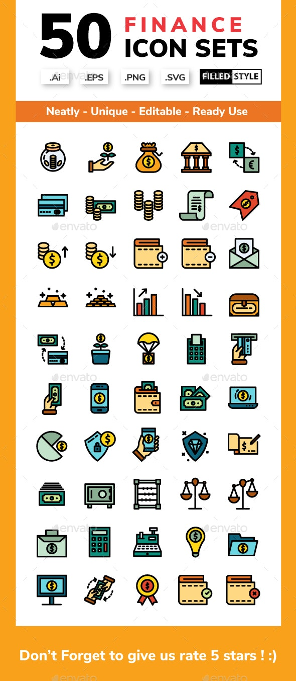 Finance - Filled Line - Business Icons