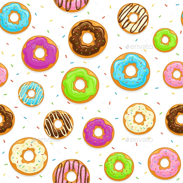 Seamless Background with Glazed Donuts - Food Objects