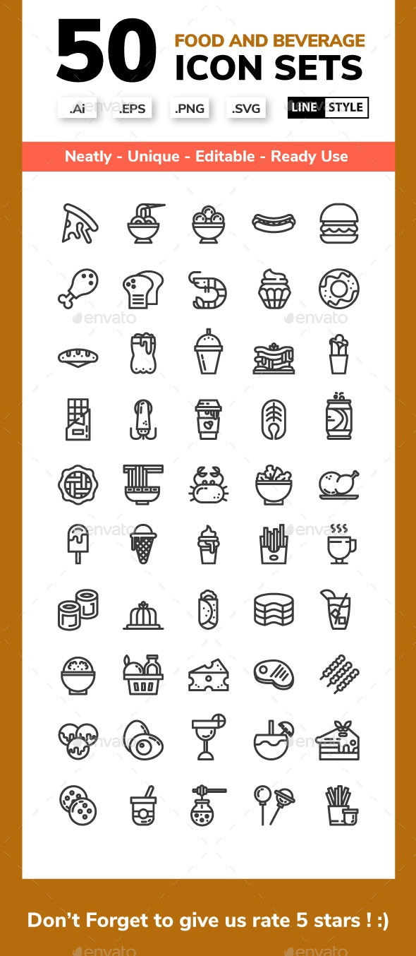 Food and Beverage Line Icon set - Food Objects