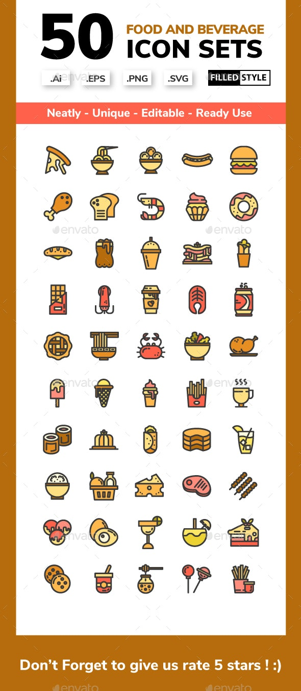 Food and Beverage Filled Line Icon set - Food Objects