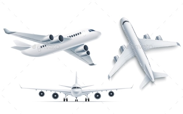 Vector Realistic Airplane Aircraft White 3d Mockup - Man-made Objects Objects