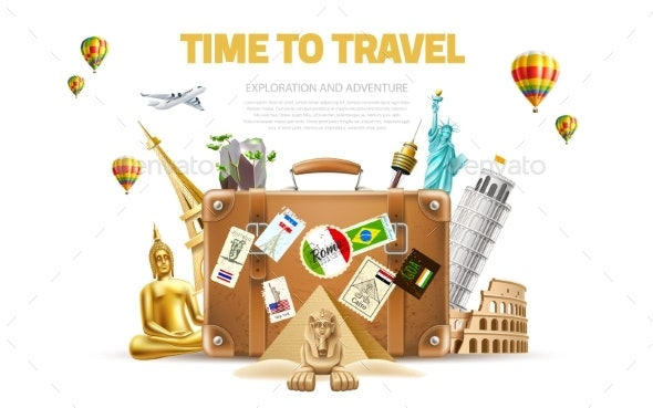 Vector Travelling and Tourism Poster Design 3d - Backgrounds Decorative