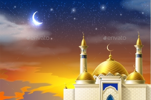 Vector Realistic Muslim Mosque Night Moon Star Sky - Religion Conceptual