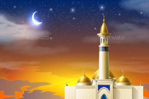 Vector Realistic Muslim Mosque Night Moon Star Sky - Religion Conceptual