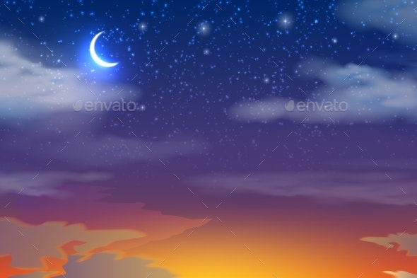 Vector Sunset Sky with Moon Stars Clouds - Abstract Conceptual