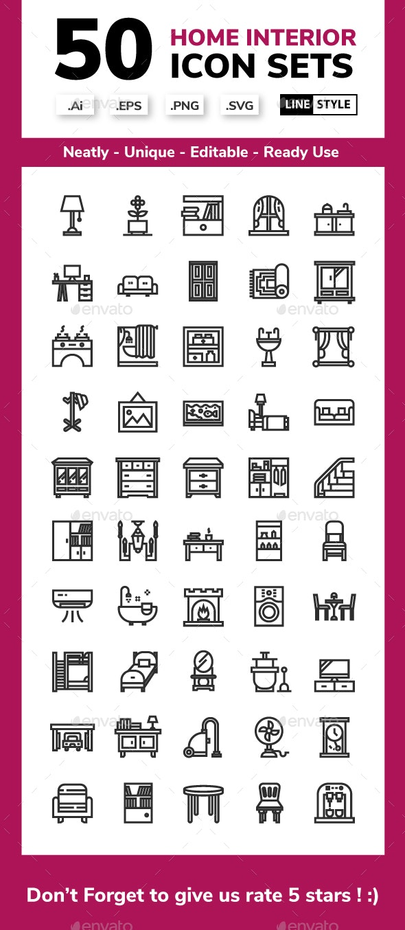 Home Interior Line Icon Set - Buildings Objects