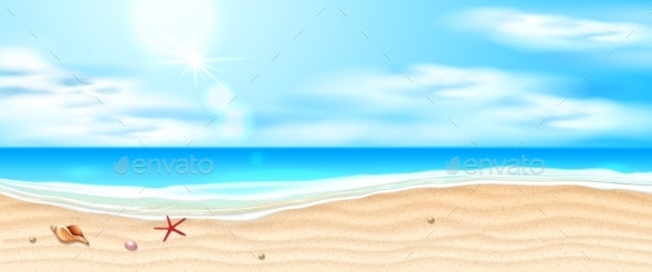 Vector Seaside Beach Azure Waves Sand Coast - Landscapes Nature
