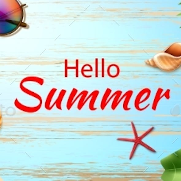 Vector Hello Summer Poster Tropical Fruits Leaves