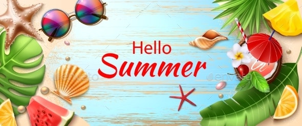 Vector Hello Summer Poster Tropical Fruits Leaves - Landscapes Nature