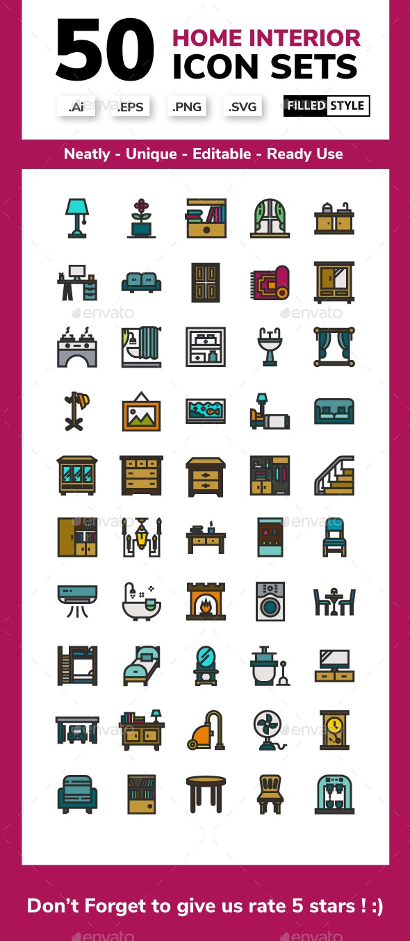 Home Interior Filled Line Icon Set - Buildings Objects