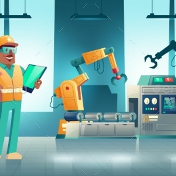 Factory Robotized Production Line Cartoon Vector