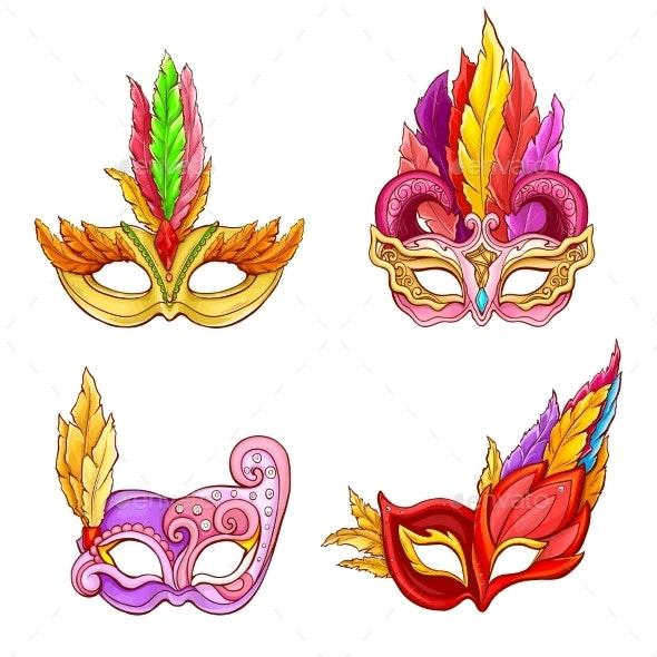 Colombina Masks with Feathers Cartoon Vector Set - Miscellaneous Seasons/Holidays