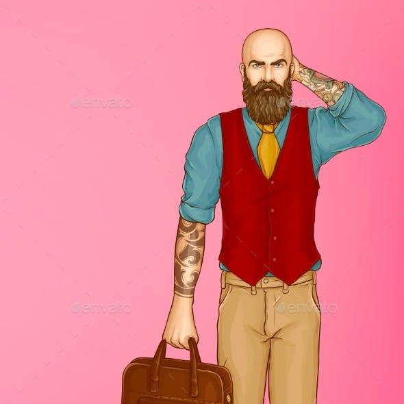Walking Stylish Hipster Man Pop Art Vector