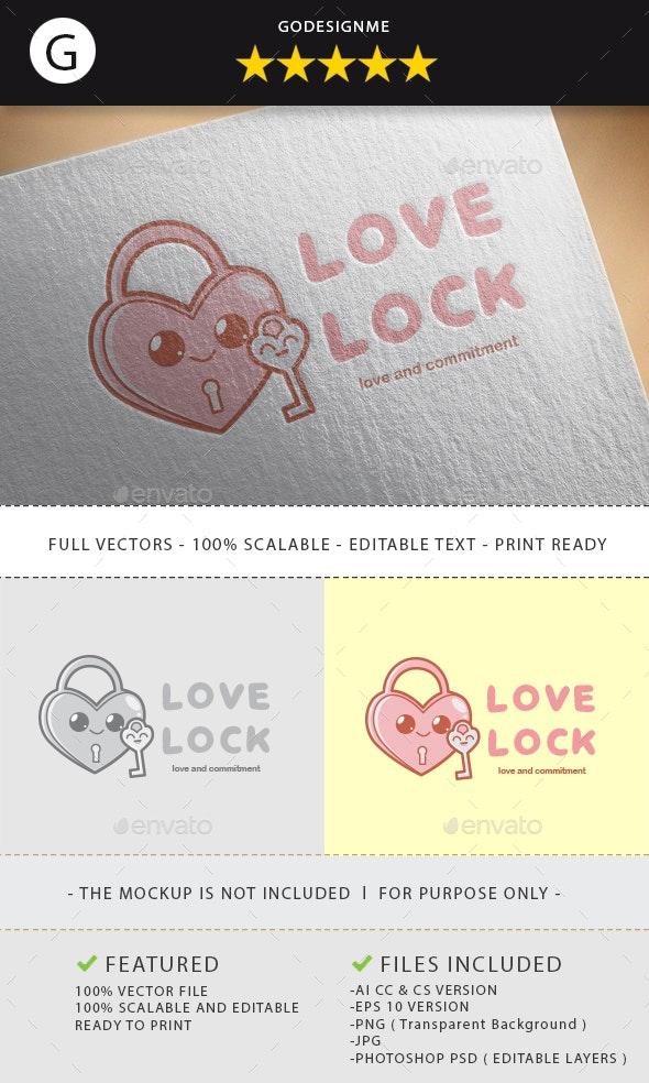 Love Lock Logo Design - Vector Abstract